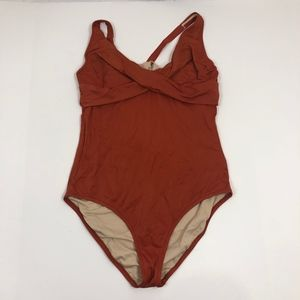 J. Crew Burnt Orange Underwire Swimsuit Size 16 D